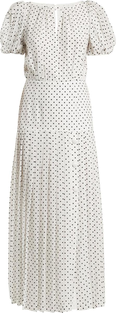 Alessandra Rich Puff-sleeved polka-dot silk dress