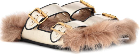 Prada Shearling-lined leather sandals