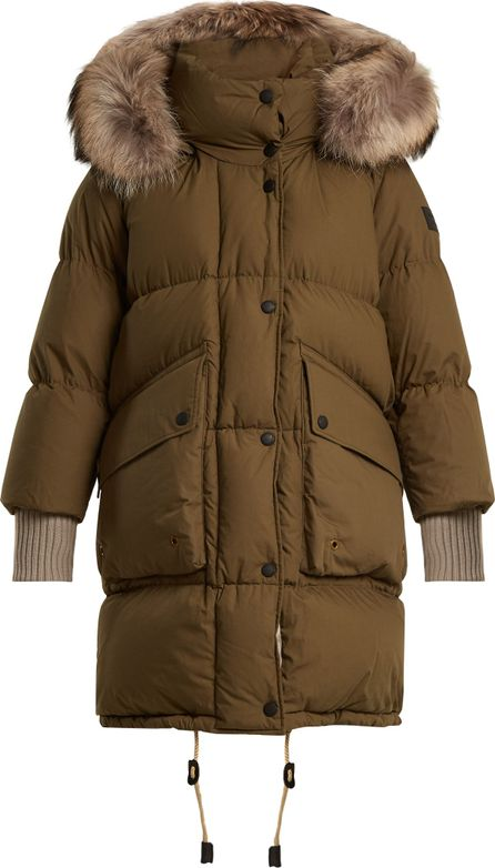 Burberry London England Fur-trimmed quilted-down cotton coat