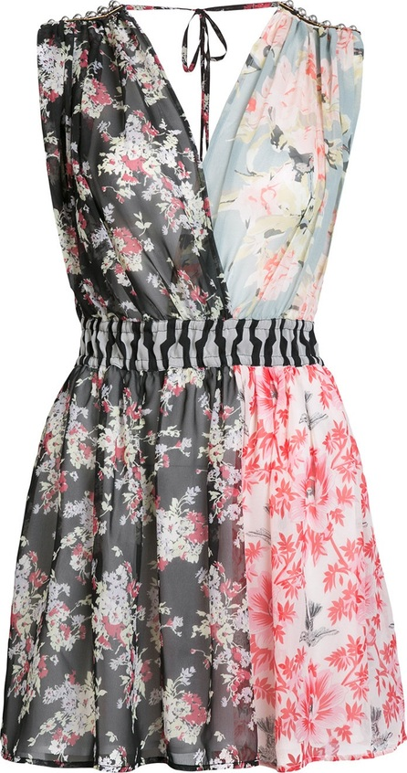 Amen patched floral sleeveless dress
