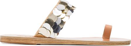 Ancient Greek Sandals Silver Thraki sequin leather sandals