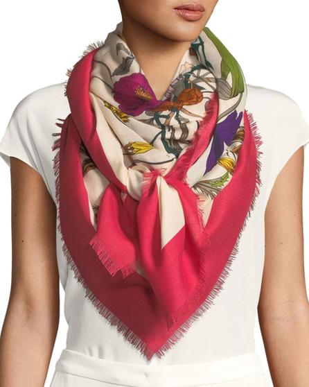 Gucci Flora Gothic Wool-Silk Shawl