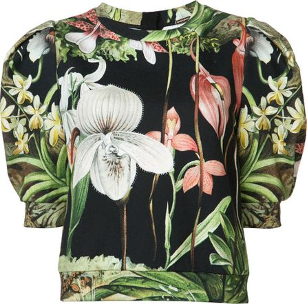 Adam Lippes Orchid printed sweatshirt with puff sleeve