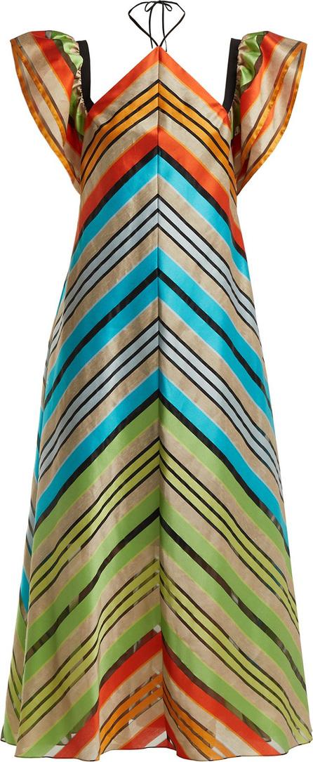 Mary Katrantzou Kahlo chevron-stripe organza dress