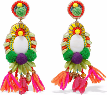 Ranjana Khan Gold-tone, pompom, bead and tassel clip earrings