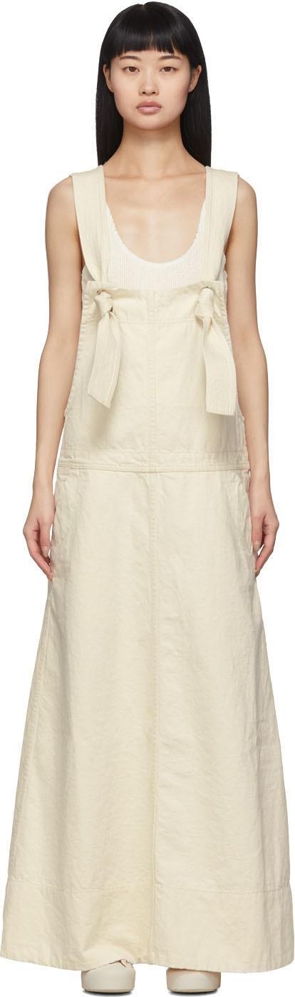 Jil Sander Off-White Denim Overall Dress