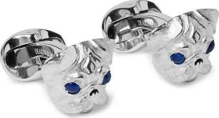 Deakin & Francis Pug Sterling Silver Sapphire Cufflinks