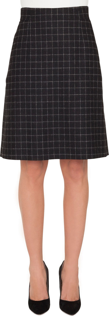 Akris A-Line Check Cashmere Fleece Knee-Length Skirt