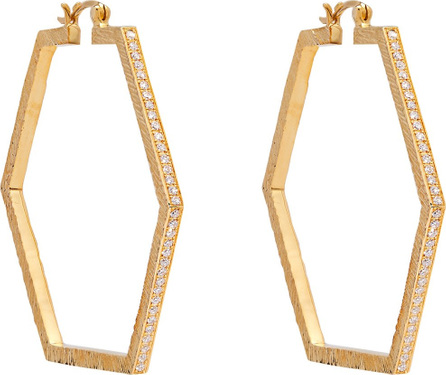 Patcharavipa 18kt gold and diamond hexagon earrings