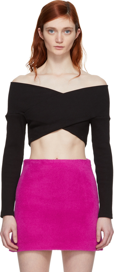 Opening Ceremony Black Off-The-Shoulder Cropped Knit Sweater