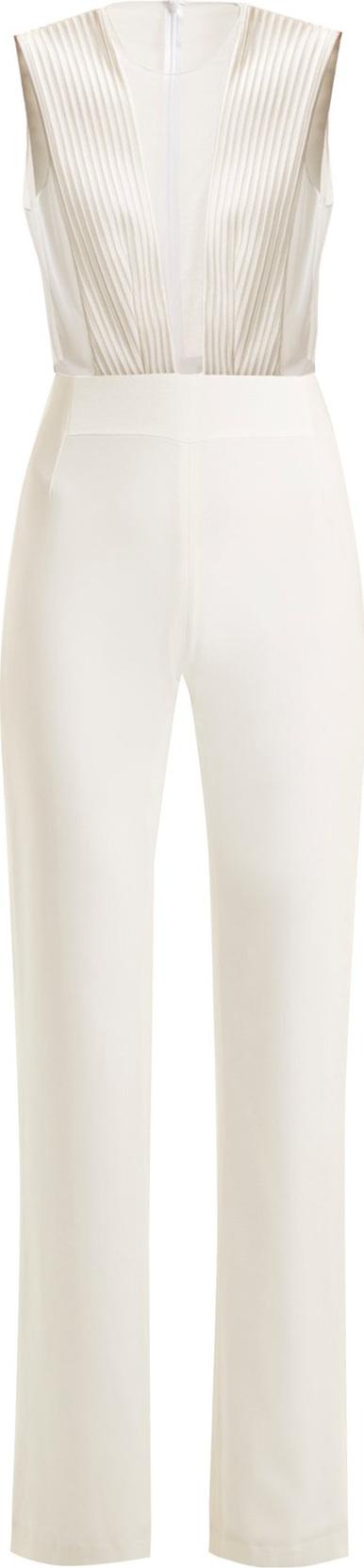 Galvan Tuxedo satin-crepe and tulle sleeveless jumpsuit