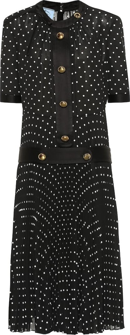 Prada Dotted silk-blend midi dress