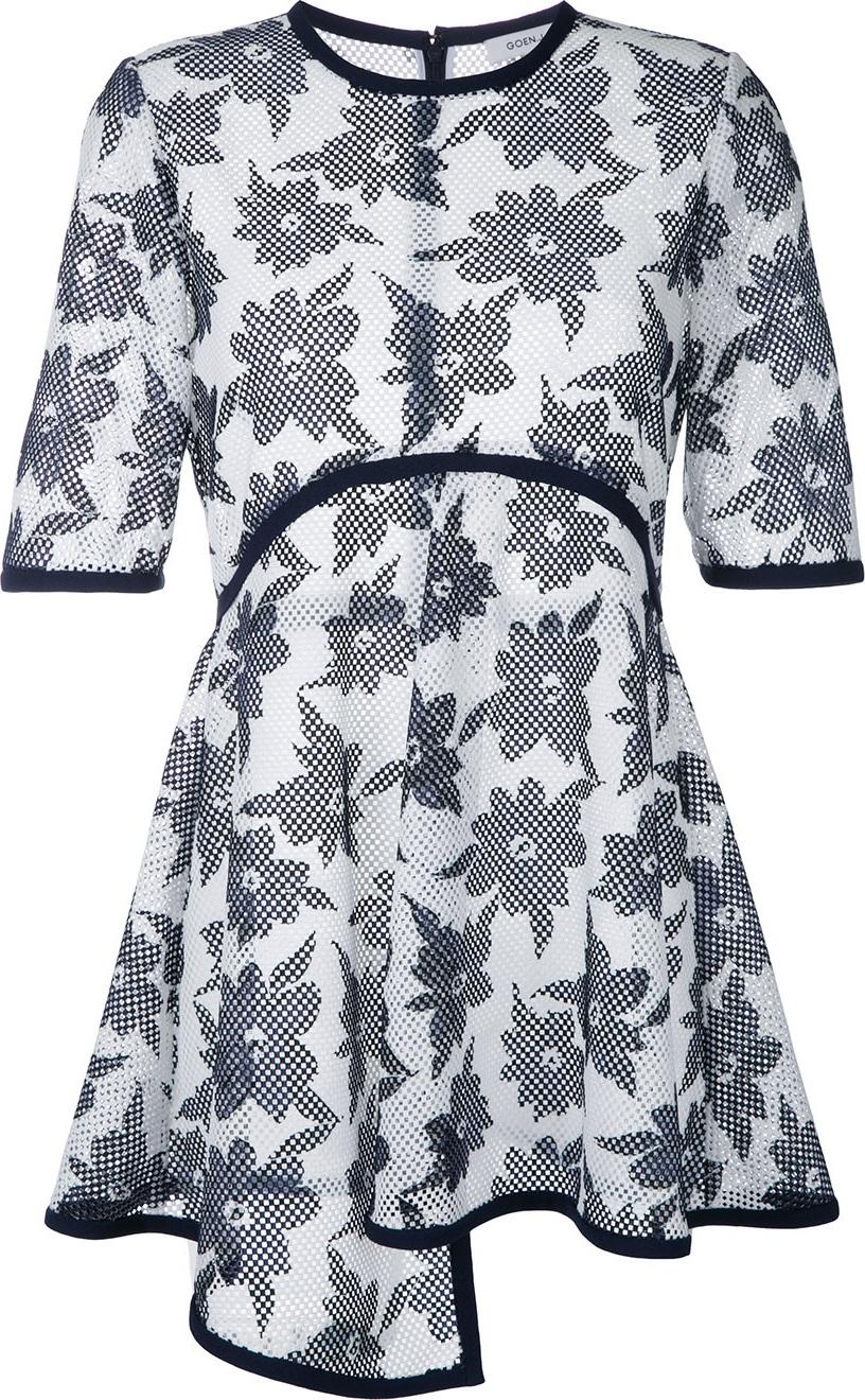 GOEN.J - floral print sheer T-shirt
