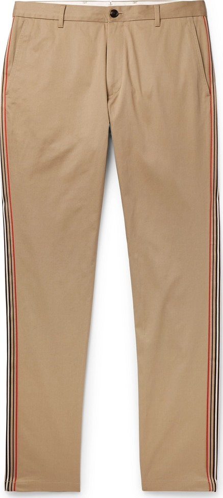 Burberry London England Slim-Fit Grosgrain-Trimmed Cotton-Twill Chinos