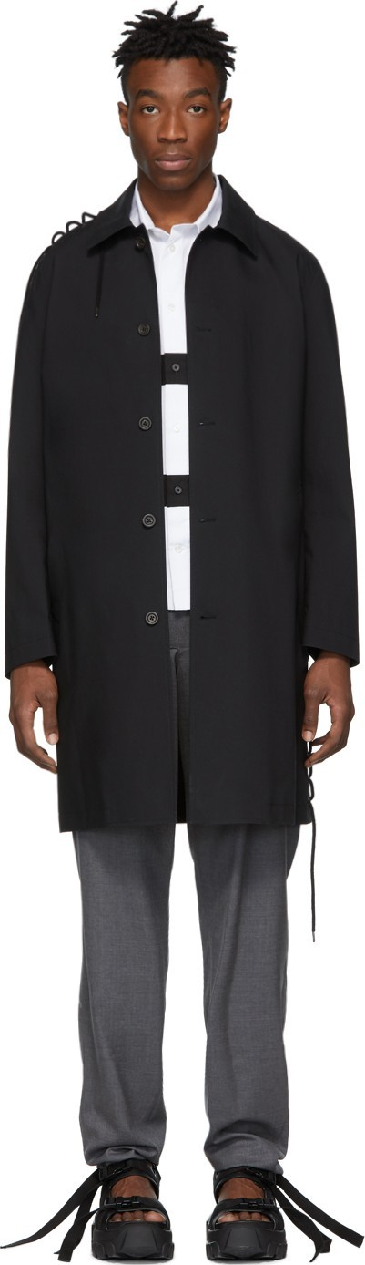 Craig Green Black Laced Long Trench Coat