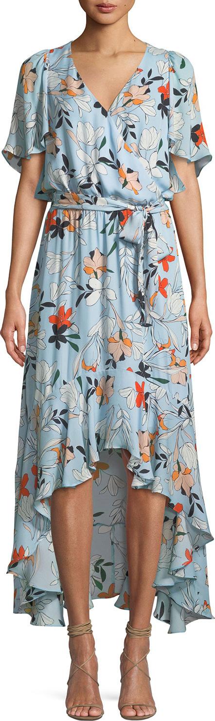 Parker Demi Floral-Print Silk Wrap Dress