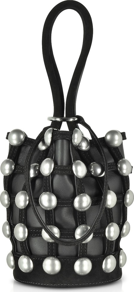 Alexander Wang Dome Stud Roxy Black Suede Mini Bucket Bag