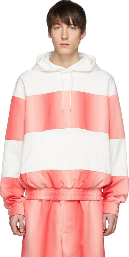 Feng Chen Wang White & Pink Contrast Striped Hoodie