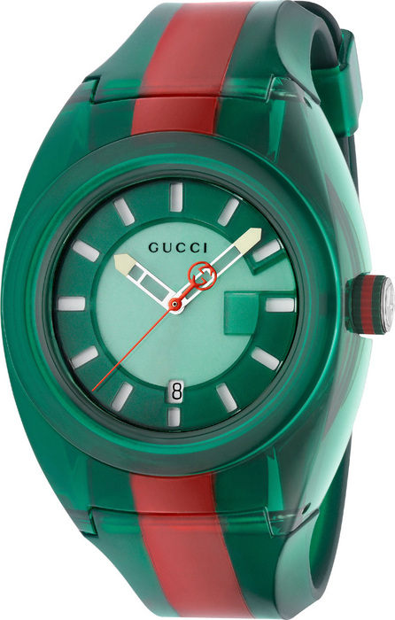 Gucci 46mm Gucci Sync Sport Watch w/ Rubber Strap, Green/Red