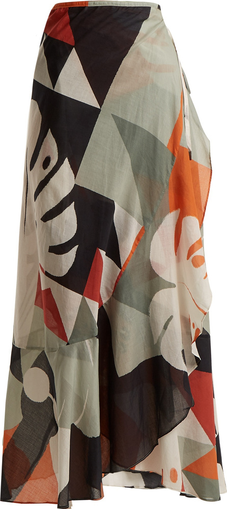 Adriana Degreas Tropiques abstract-print wrap cotton skirt