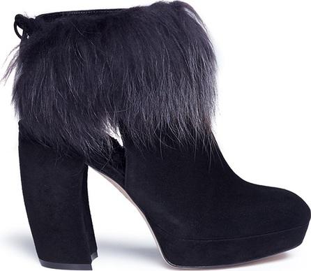 Aperlai 'Amanda' rabbit fur trim suede ankle boots