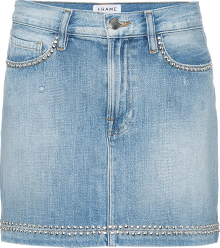 FRAME DENIM Blue le studded denim mini skirt