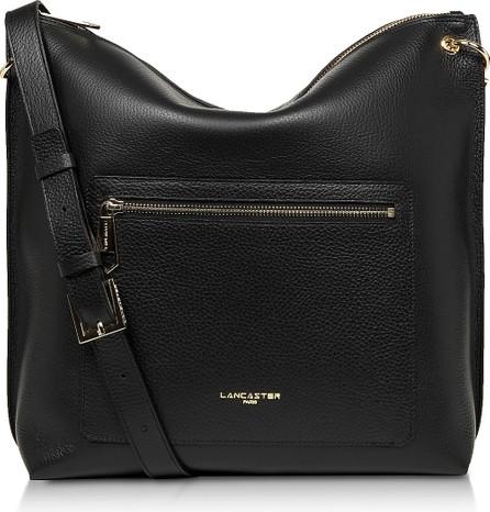 Lancaster Foulonne Double Black Grained Cow Leather Bucket Bag