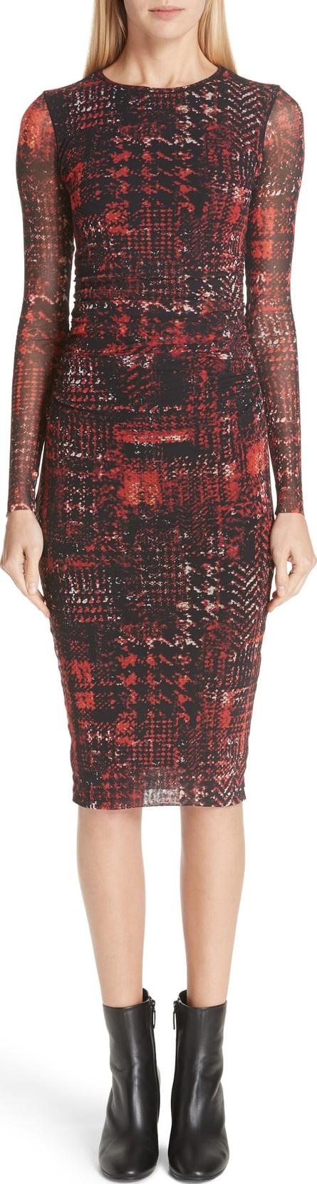 Fuzzi Long Sleeve Plaid Tulle Dress