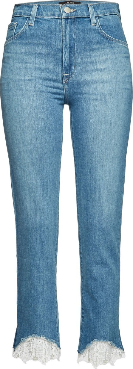 J BRAND Ruby High Rise Crop Cigarette Jeans with Embroidered Ankles