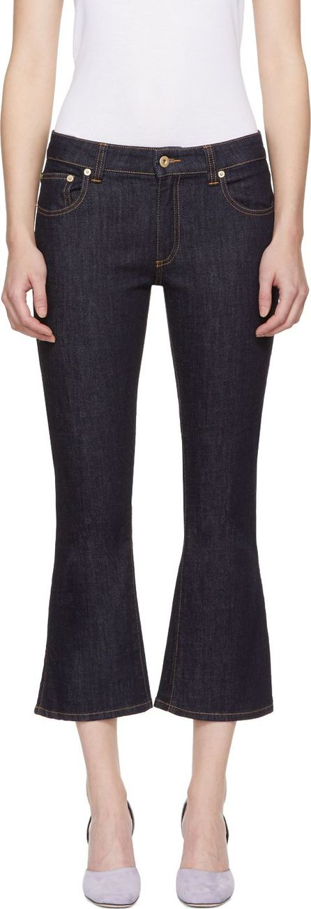 Carven Blue Cropped Flared Jeans