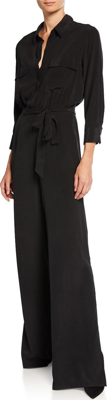 L'AGENCE Rannah Tie-Waist Silk Jumpsuit