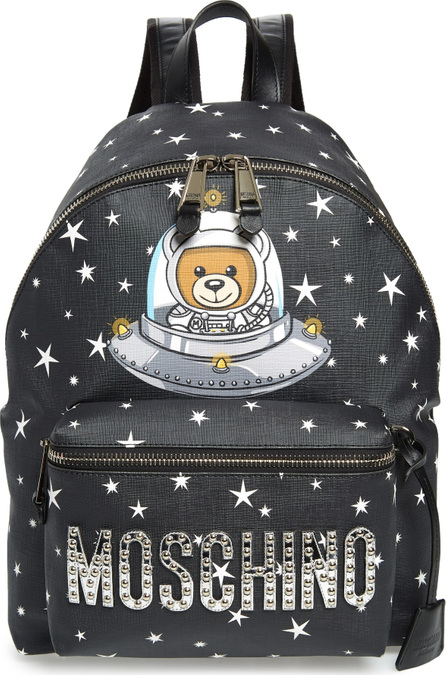 Moschino UFO Teddy Bear Faux Leather Backpack