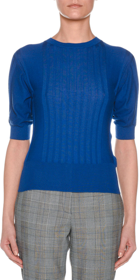 Agnona Crewneck Short-Sleeve Superfine Cashmere Sweater