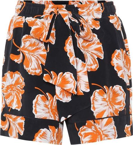 Ganni Geroux floral-printed silk shorts