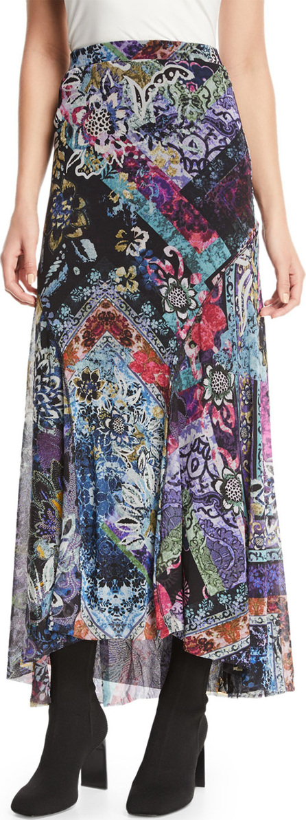 Fuzzi Floral-Print Long Godet Skirt