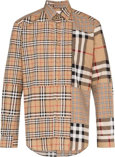 Burberry London England Vintage check patchwork cotton shirt