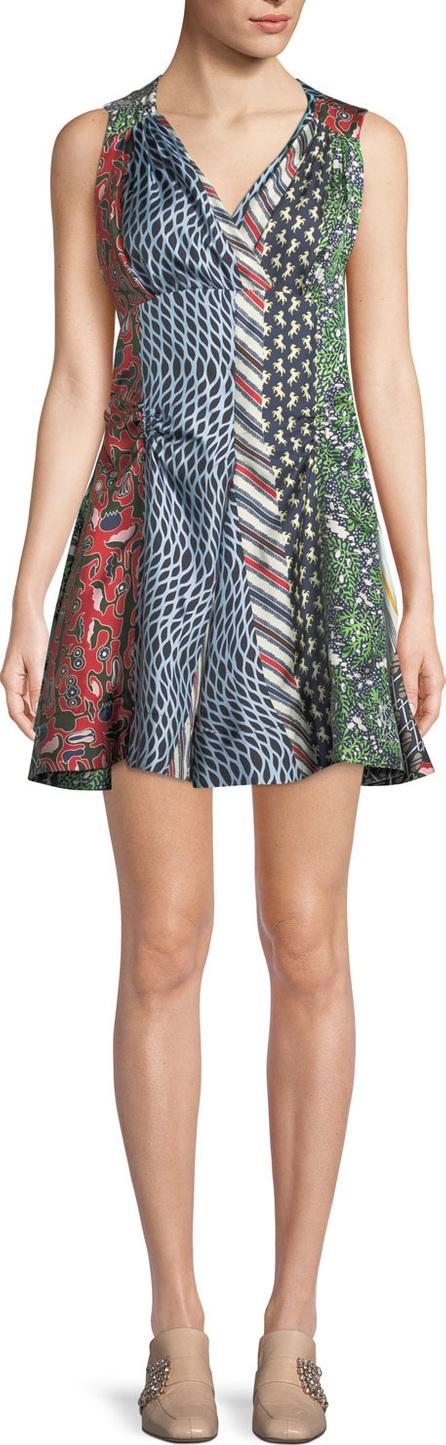Carven Mixed-Print Silk Flared Dress