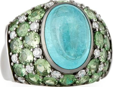 Alexander Laut Paraiba Tourmaline Cabochon & Green Tsavorite Ring, Size 7