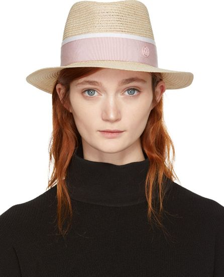 Maison Michel Beige & Pink Straw Andre Trilby