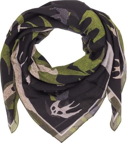 McQ - Alexander McQueen Swallow Swarm Camouflage Modal Wrap w/ Fringes