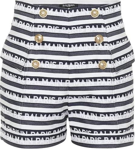 Balmain High-rise striped cotton shorts