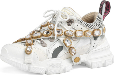 Gucci Tonal Hiker Sneakers with Jeweled Strap