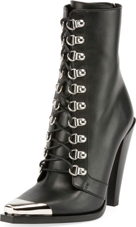 Balmain Calamity Lace-Up Cap-Toe Boots