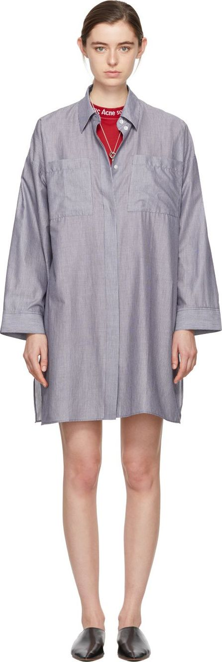 Acne Studios White & Navy Striped Jacui Shirt Dress