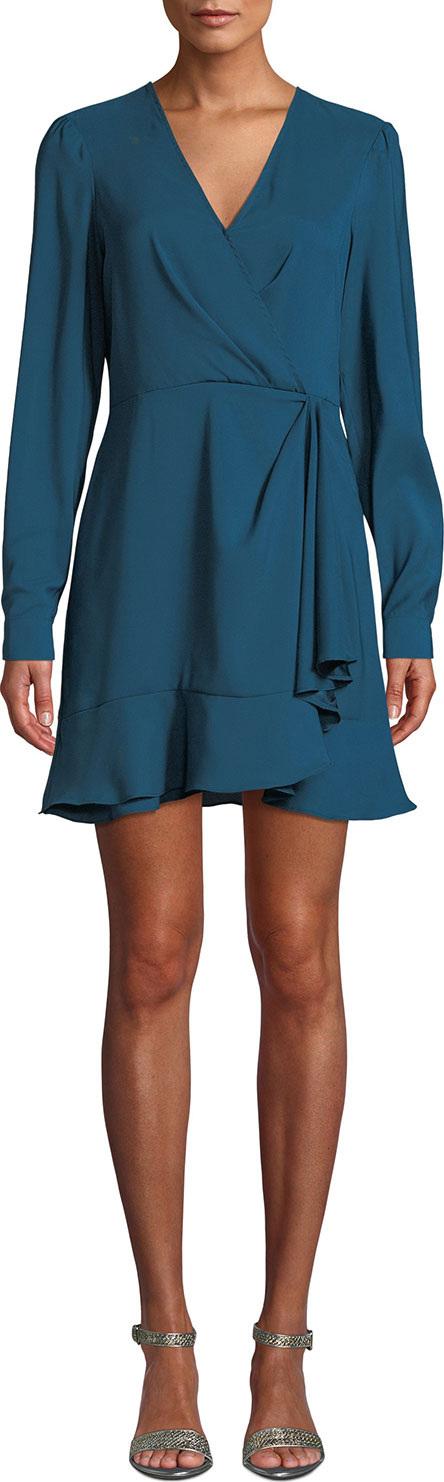Parker Polly Long-Sleeve Flounce Faux-Wrap Dress