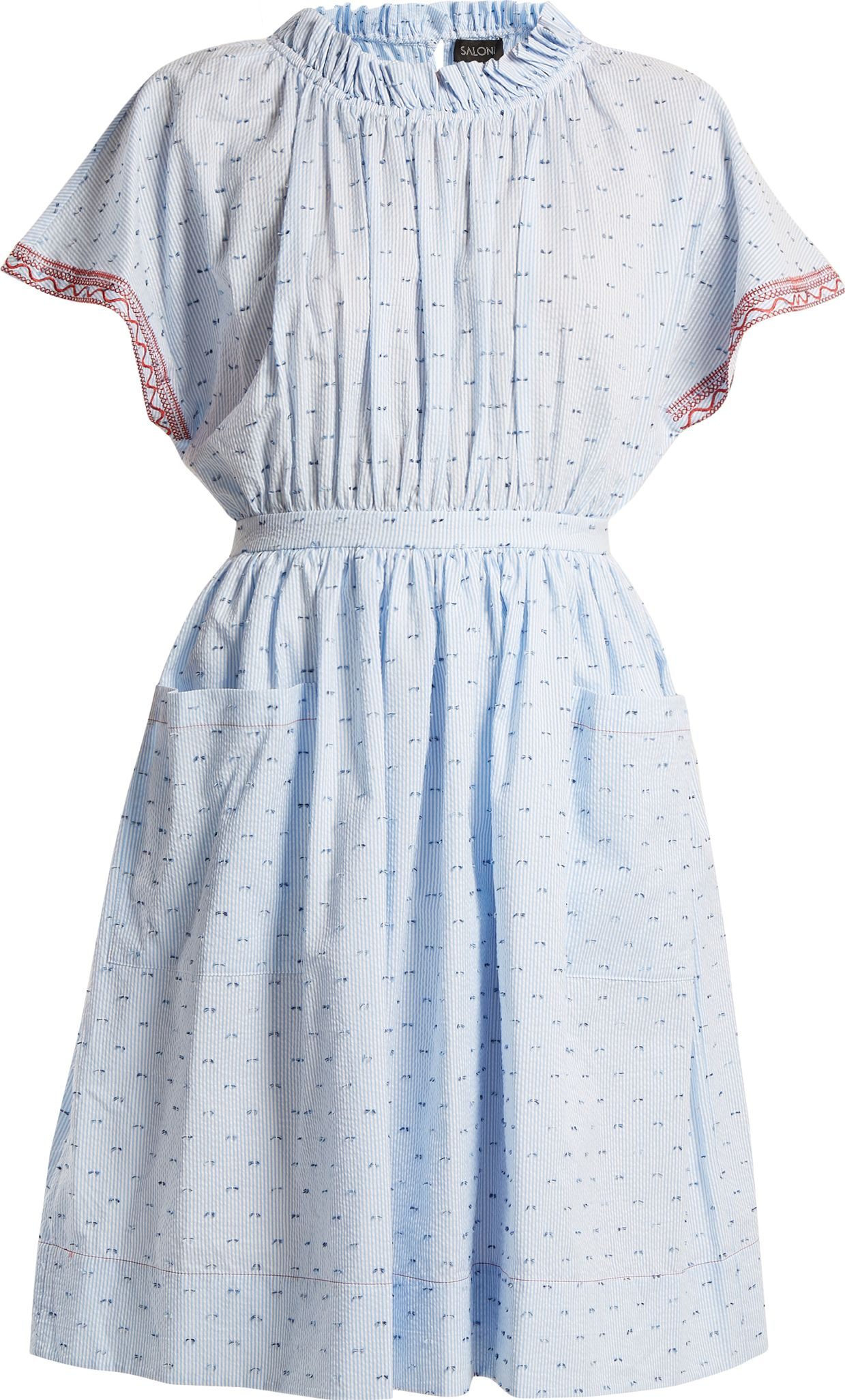 Saloni - Dakota seersucker cotton-blend dress