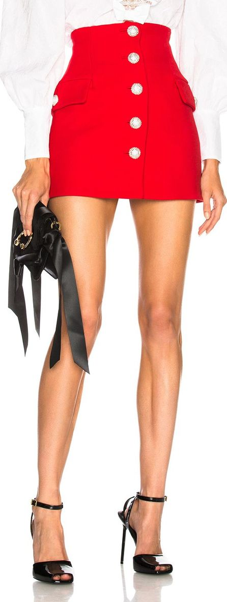 Alessandra Rich Button Front Mini Skirt