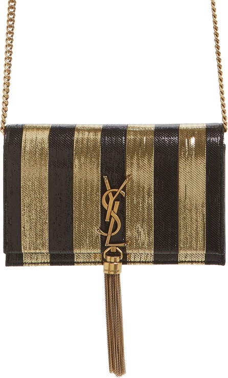 Saint Laurent Kate Metallic Stripe Wallet on a Chain