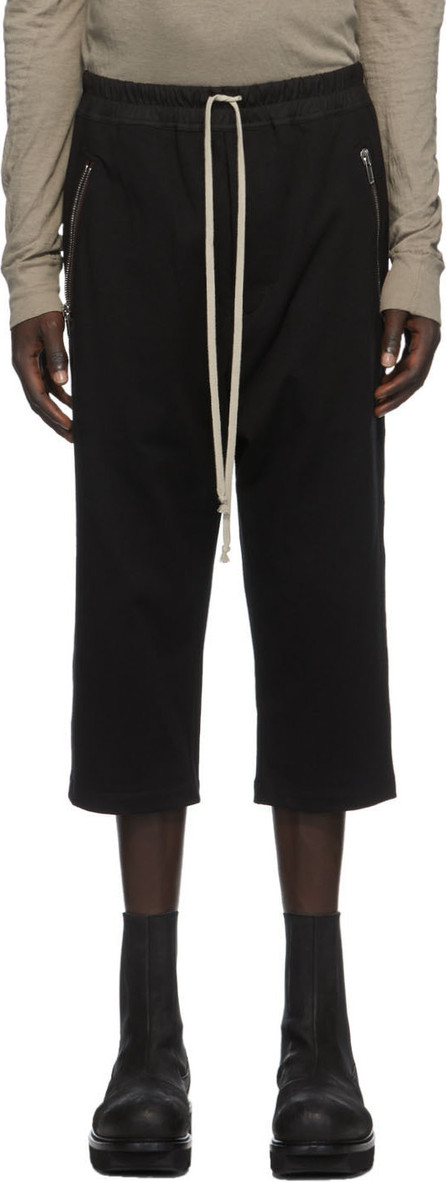 Rick Owens Black Jersey Cropped Drawstring Lounge Pants