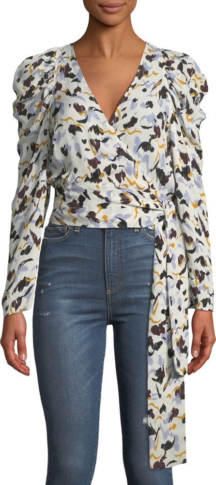 A.L.C. Tessa Printed Silk Long-Sleeve Wrap Top